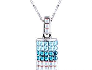 Κολιέ με Blue crystal μενταγιόν, Επιπλατινωμένο, με Swarovski, BC10305-IN