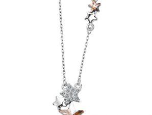 Stars necklace, πλατίνα, με κρύσταλλα Swarovski, BC16080-CH