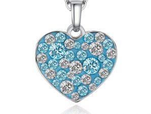 Κρεμαστή καρδιά Swarovski Επιπλατινωμένο, BC16158-AQ