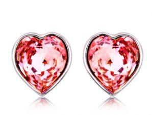 Σκουλαρίκια καρδιά, Επιπλατινωμένα, με Swarovski, BC20233-LR