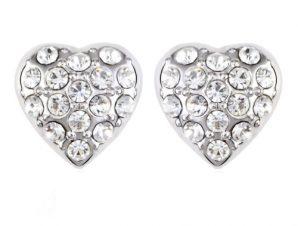 Σκουλαρίκια καρδιά Επιπλατινωμένα, με Swarovski BC20594-CR