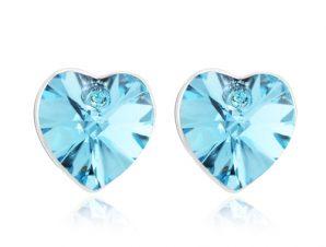 Σκουλαρίκια Ορείχαλκος καρδιά με κρύσταλλα Swarovski BC20600-AQ