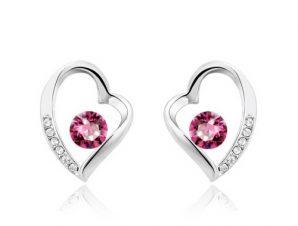 """Σκουλαρίκια καρδιά Επιπλατινωμένα, με """"διαμαντάκι"""" Swarovski BC20601-RO"""