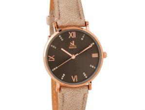Γυναικείο ρολόι ST WATCH Brooklyn Crystals Brown Leather Strap 9149-2