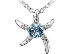 Κολιέ Πλατίνα, αστέρι με γαλάζια πέτρα Swarovski BC1767-AQ