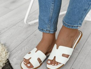 Flat Παντόφλες Λευκές – Bianca