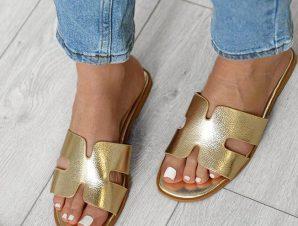 Flat Παντόφλες Χρυσές – Bianca