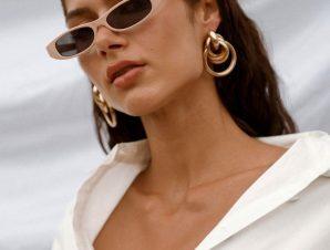 Γυαλιά Ηλίου Ορθογώνια Μπεζ – Davina