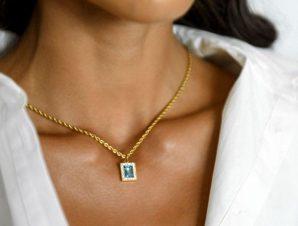 Κολιέ Με Διακοσμητική Πέτρα Μπλε – Oculi Maris