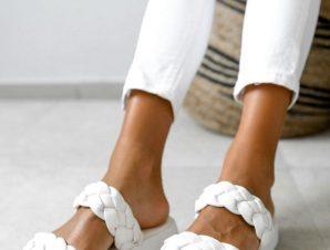 Παντόφλες Δίπατες Με Πλεξούδες Λευκές – Anamar