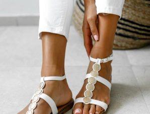 Σανδάλια Flat Με Λουριά Λευκά – Knossos